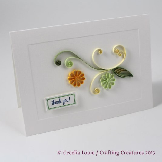 quilling, flower, thank you