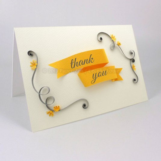 Quilled thank you card, printable PDF